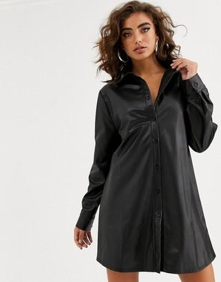 NA-KD Na Kd faux leather mini shirt dress in black