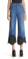 Stella McCartney Women's Soutache Trim Crop Wide Leg Denim Pants