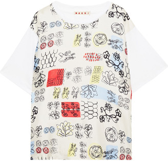 Marni Printed Silk-twill And Cotton-jersey T-shirt