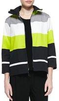 Caroline Rose Limelight Striped Zip Jacket