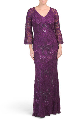 Three-quarter Sleeve Soutache V-neck Gown