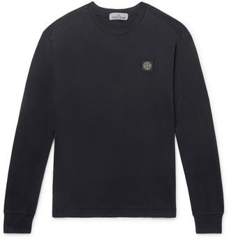 Stone Island Slim-Fit Logo-Appliqued Garment-Dyed Cotton-Jersey T-Shirt