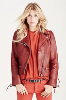True Religion Lace Up Leather Moto Womens Jacket