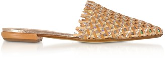 Rodo Brown and Rose Gold Woven Leather Flat Mules