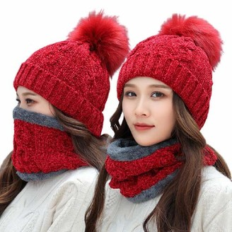 Tuopuda Chenille Knitted Women Hat Scarf Set Super Soft Fleece Lining Warm Winter Hat Loop Infinity Scarfs Stretchy Knit Beanie Cap Elastic Neck Warmer Snugly Fit for Women Ladies Girls