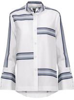 Derek Lam 10 Crosby Asymmetric Striped Cotton Shirt