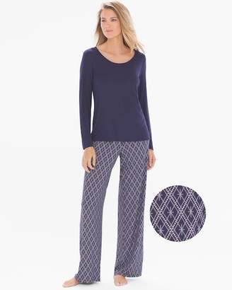 Cool Nights Long Sleeve Pajama Set Sparkling Geo with Navy RG