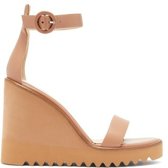 Gianvito Rossi Eleanor Leather Wedge Sandals - Nude