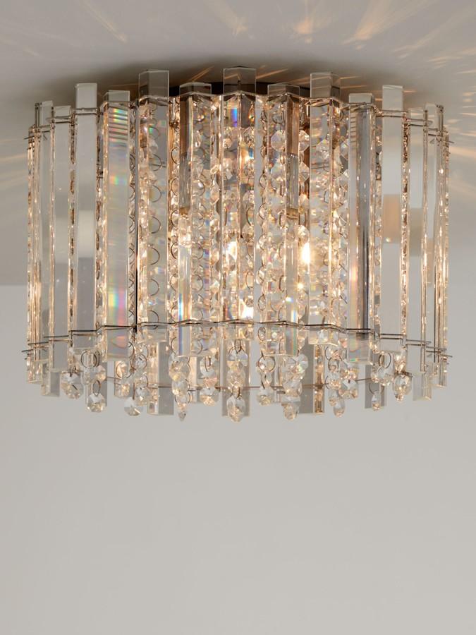 John Lewis & Partners Dazzle Crystal Semi Flush Ceiling Light, Clear