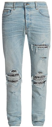 Amiri MX1 Animal-Print Distressed Skinny Jeans