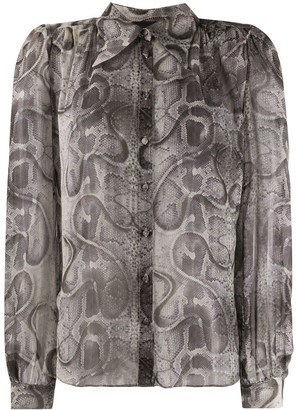 John Richmond Snakeskin Print Gathered Shirt