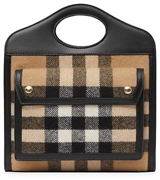 Burberry Medium Pocket Vintage Check Cashmere Tote
