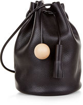 Building Block Black Leather Drawstring Bucket Bag