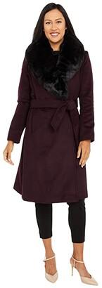 Lauren Ralph Lauren Wool Wrap with Faux Fur (Black) Women's Clothing