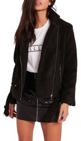 Missguided Women's Fleece Moto Jacket