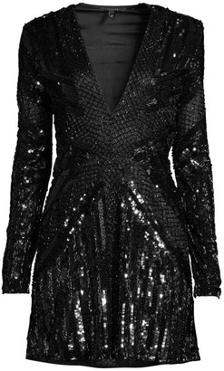 Rosa Cha Lily Sequin Beaded Mini Dress