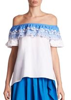 Peter Pilotto Embroidered Cotton Off-The-Shoulder Top