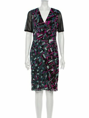 J. Mendel Printed Knee-Length Dress Black