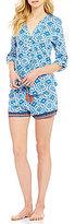 Lucky Brand Tile-Print Boyfriend Jersey Pajamas