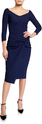 Chiara Boni V-Neck Twist-Front Sheath Dress