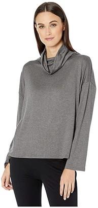 Eileen Fisher Tencel Stretch Terry Drape Neck Top (Ash) Women's Clothing