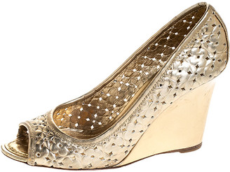Louis Vuitton Gold Stand By Me Peep Toe Wedge Pumps Size 36