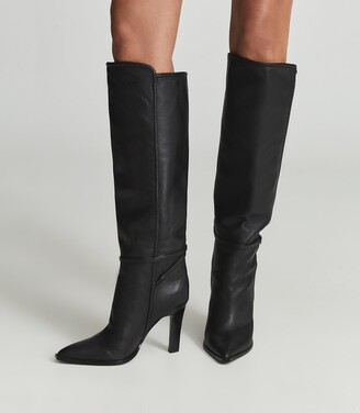 Reiss Ada - Knee-high Leather Boots in Black