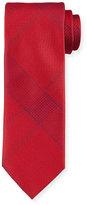 Brioni Solid Plaid Silk Tie, Red
