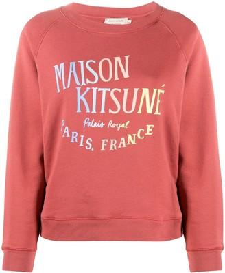 MAISON KITSUNÉ logo print crew neck sweatshirt