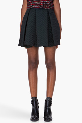 Kenzo Midnight Green Zigzag Quilt Stitched Skirt