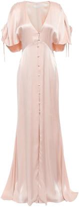 Les Héroïnes Cape-effect Crepe-satin Maxi Dress