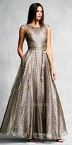 Aidan Mattox Brick Printed Evening Gown