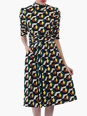 Jolie Moi Geometric Print Turtleneck 3/4 Sleeve Dress, Teal/Multi