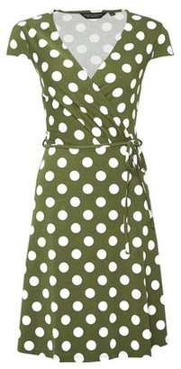 Dorothy Perkins Womens Khaki Spot Print Wrap Jersey Dress, Khaki