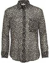 American Vintage Titusville Silk Shirt, Sheer Black Daisy Blouse