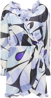 Emilio Pucci Ruffled Printed Metallic Silk-blend Voile Mini Wrap Dress
