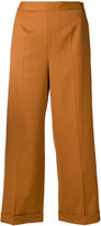 MM6 MAISON MARGIELA cropped wide leg trousers - women - Polyester/Spandex/Elastane/Viscose/Virgin Wool - 36
