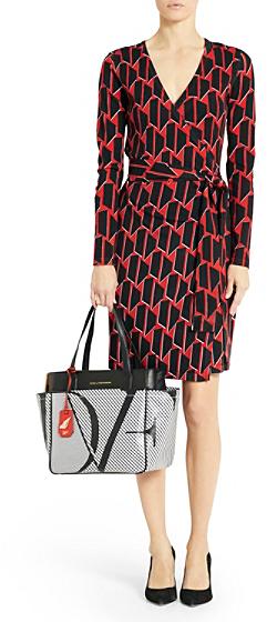 Diane von Furstenberg Linda Sweater Wrap Dress In Hounds Check Small Red