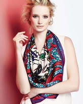 Kenzo New Tiger-Head Silk Scarf, Red