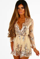 Pink Boutique Hopes and Dreams Rose Gold Sequin Long Sleeve Playsuit