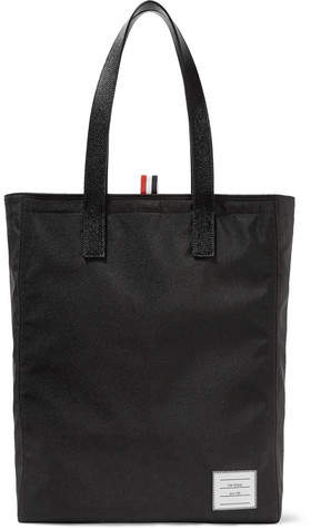Thom Browne Pebble-Grain Leather-Trimmed Canvas Tote Bag