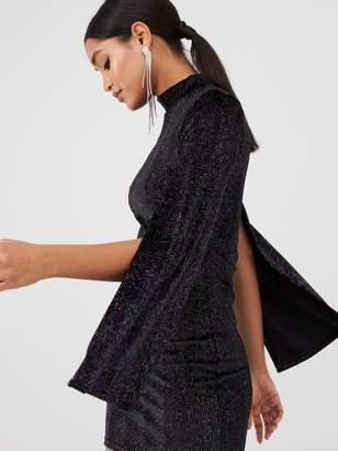 In The Style X Billie Faiers Glitter Velvet Split Sleeve Dress - Black
