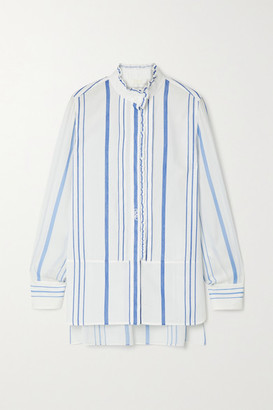 Chloé Ruffled Striped Cotton And Crepe De Chine Shirt - White