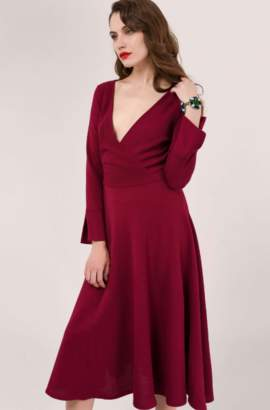 Closet London Maroon Long Sleeve Wrap Dress - 8 | maroon - Maroon