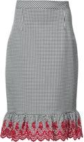 Altuzarra Gingham Embroidered Pencil Skirt
