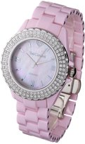 Mother of Pearl Yves Camani Nancy Women's Quartz Watch with Dial and Pink Ceramic Bracelet YC1011-A