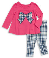 Kids Headquarters Girls 2-6x Plaid Accented Top and Leggings Set