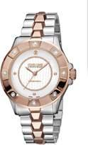 Roberto Cavalli DIAMOND BEZEL Women's Swiss-Quartz Two Tone Stainless Steel Bracelet Diamond Watch