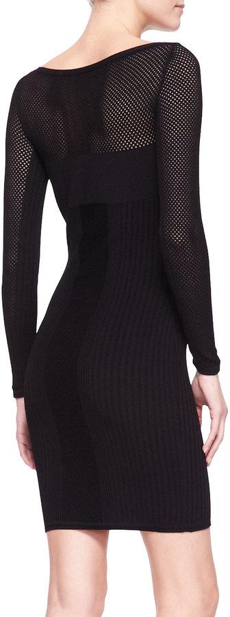 Versace Mesh-Yoke Long-Sleeve Knit Sheath Dress, Black