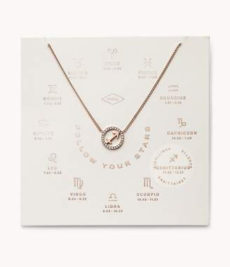 Fossil Sagittarius Pendant Rose Gold-Tone Stainless Steel Necklace jewelry JF03308791